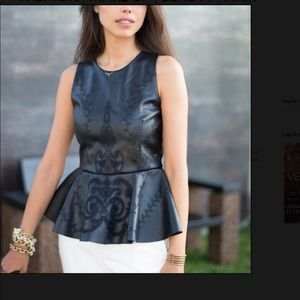 Embroidered Faux Leather Top with Peplum Frill